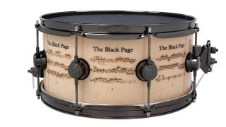 DW's Black Page Icon snare, complete with engraved notation.