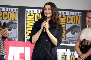 "Rachel Weisz speaking at the 2019 San Diego Comic Con International, for ""Black Widow"", at the San Diego Convention Center in San Diego, California."