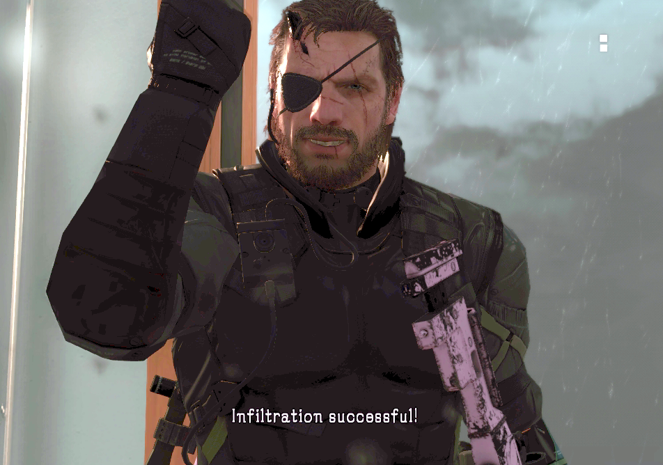 The game tries to fade to black before you can appreciate Big Boss' smile. A stealth crime.