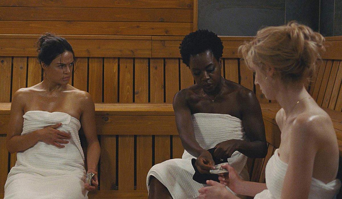 Widows Michelle Rodriguez Viola Davis and Elizabeth Debicki splitting the take in a sauna