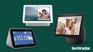 The Lenovo smart clock, the Google Nest Hub Max and the Amazon Echo Show 10 - the best smart displays you can buy right now - on a green background