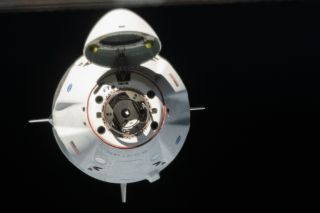 SpaceX's Crew Dragon spacecraft approaches the International Space Station with NASA astronauts Bob Behnken and Doug Hurley, on May 31, 2020.