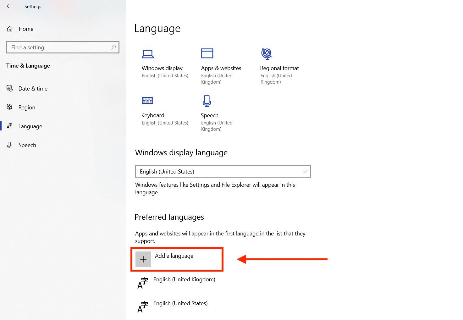 How to change keyboard language in Windows - add language