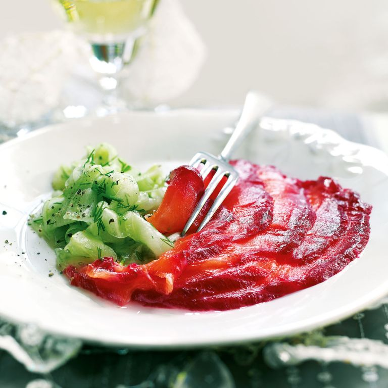 Beetroot and Vodka-Cured Salmon with Pickled Cucumber Salad Recipe-new recipes-woman and home
