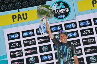 PAU FRANCE JULY 19 Podium Elise Chabbey of Switzerland and Bigla Pro Cycling Team Best Climber Celebration during the 6th La Course 2019 by Le Tour de France a 121km stage from Pau to Pau TDF LaCourse LaCoursebyTDF on July 19 2019 in Pau France Photo by Tim de WaeleGetty Images
