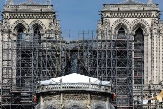 Construction continues to secure Notre Dame Cathedral after the massive April 15 fire that destroyed the structure's roof