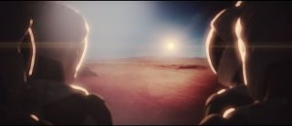 A still from an animated video from the private spaceflight company SpaceX, which shows humans arriving on the Red Planet.