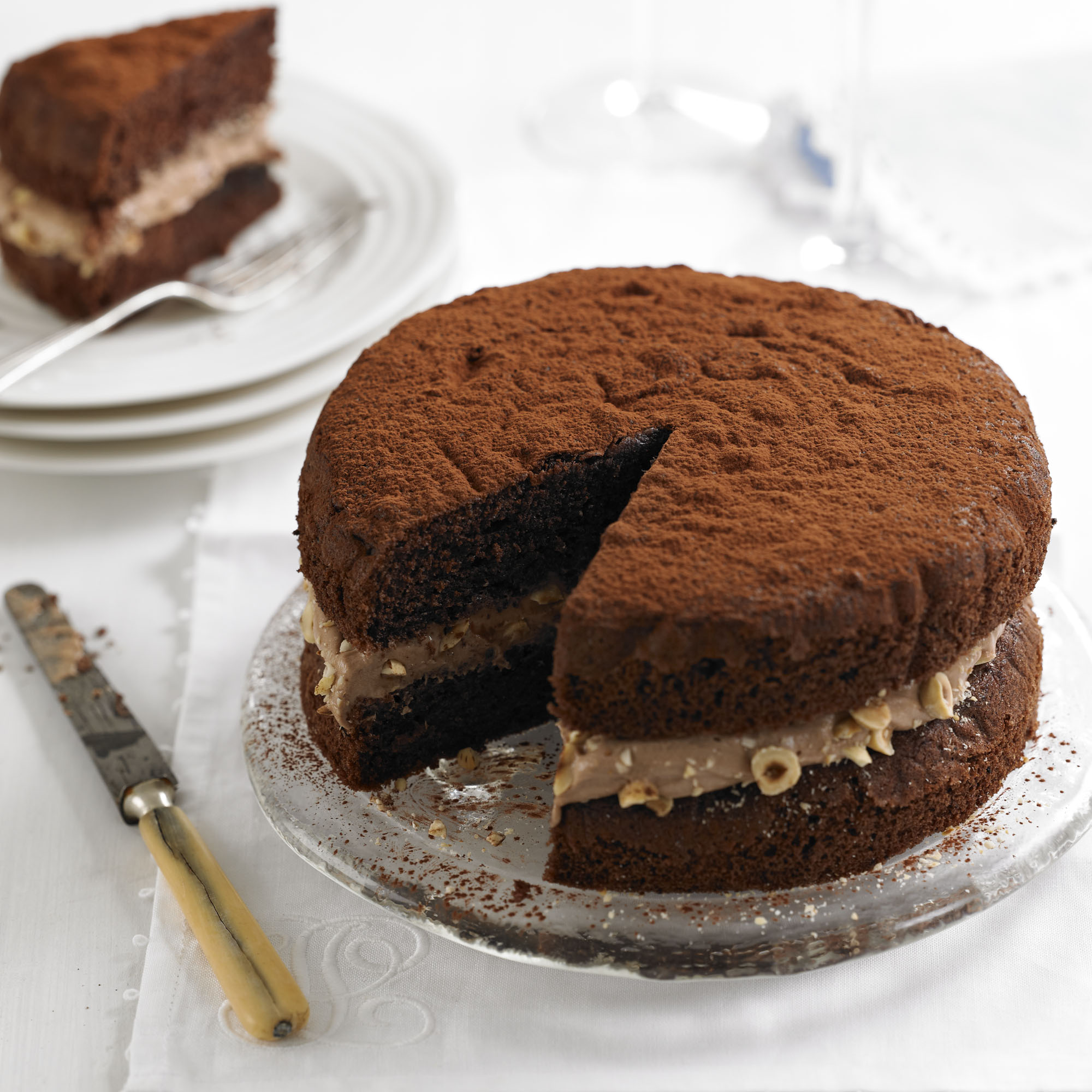Give the classic Victoria sandwich a twist with this tasty chocolate hazelnut recipe
