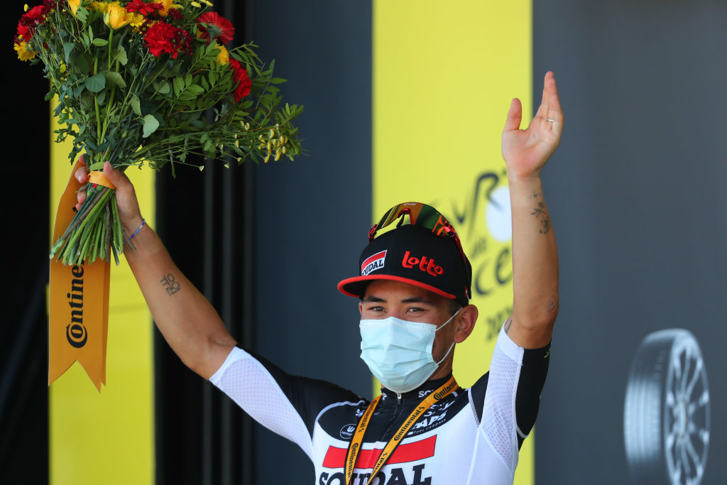 POITIERS FRANCE SEPTEMBER 09 Podium Caleb Ewan of Australia and Team Lotto Soudal Celebration Mask Covid safety measures Medal Flowers during the 107th Tour de France 2020 Stage 11 a 1675km stage from ChatelaillonPlage to Poitiers TDF2020 LeTour on September 09 2020 in Poitiers France Photo by Thibault Camus PoolGetty Images