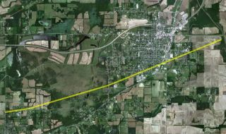 The path of the tornado that struck Harrisburg, Ill.