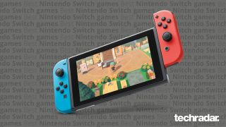 Nintendo Switch on a gray background