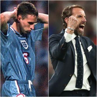 Gareth Southgate at Euro 96 (left) and Euro 2020