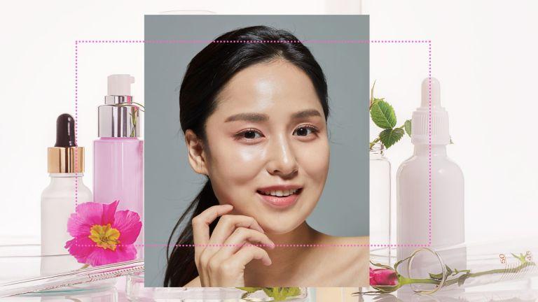 Korean skincare main Korean woman with hydrated skin