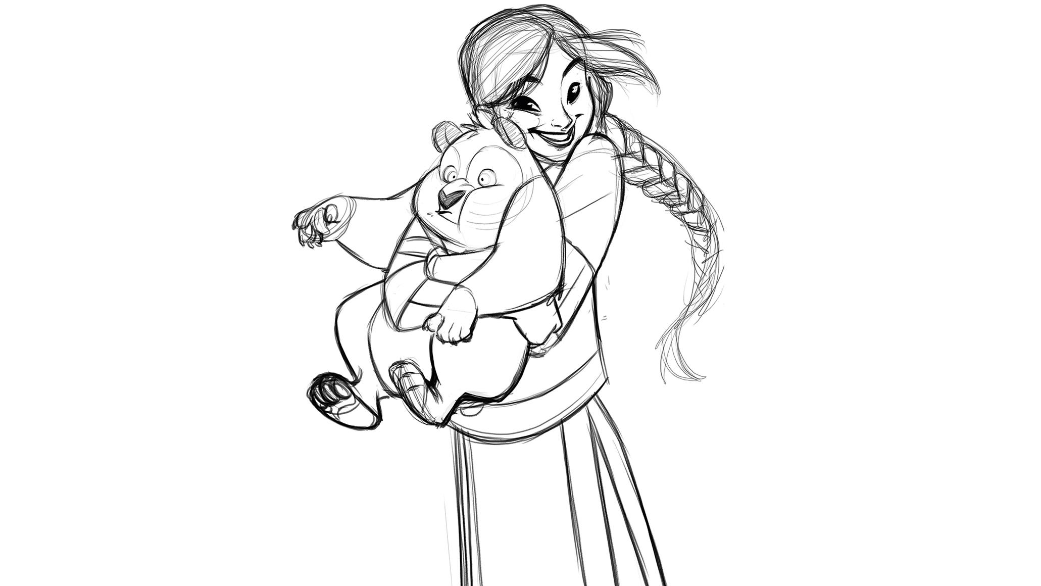 Rough sketch of girl with panda