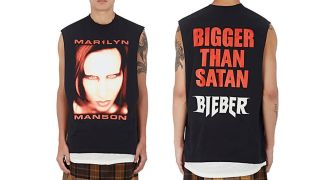 An image of the Justin Bieber Marilyn Manson t-shirt