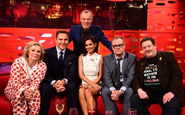 Jennifer Saunders, David Walliams, Graham Norton, Cheryl Fernandez-Versini, Jack Dee and Johnny Vegas on the show
