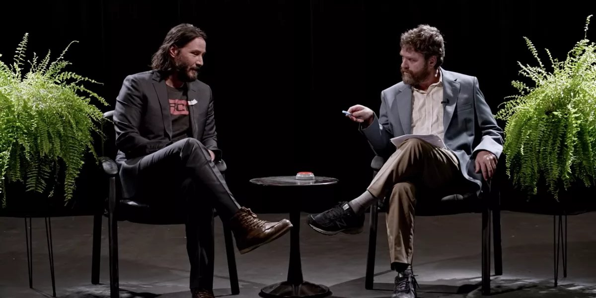 Keanu Reeves and Zach Galifianakis in Between Two Ferns: The Movie