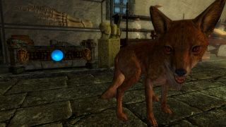 A fox in front of a treasure chest in the Legacy of the Dragonborn mod