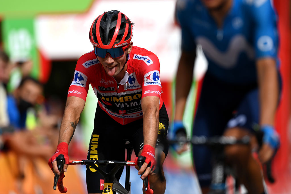RINCON DE LA VICTORIA SPAIN AUGUST 24 Primoz Roglic of Slovenia and Team Jumbo Visma Red Leader Jersey crosses the finishing line during the 76th Tour of Spain 2021 Stage 10 a 189km stage from Roquetas de Mar to Rincn de la Victoria lavuelta LaVuelta21 on August 24 2021 in Rincon De La Victoria Spain Photo by Stuart FranklinGetty Images