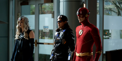 Danielle Panabaker, Carlos Valdez and Grant Gustin in The Flash.