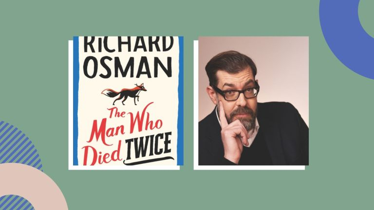 Portrait of Richard Osman and a photo of his book cover on a green background with abstract decorations on the corners