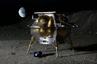 An artist's illustration of Dymon's little Yaoki rover and Astrobotic's larger Peregrine lander on the surface of the moon.