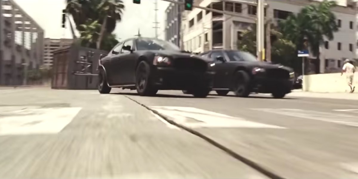 The iconic heist scene in Fast Five