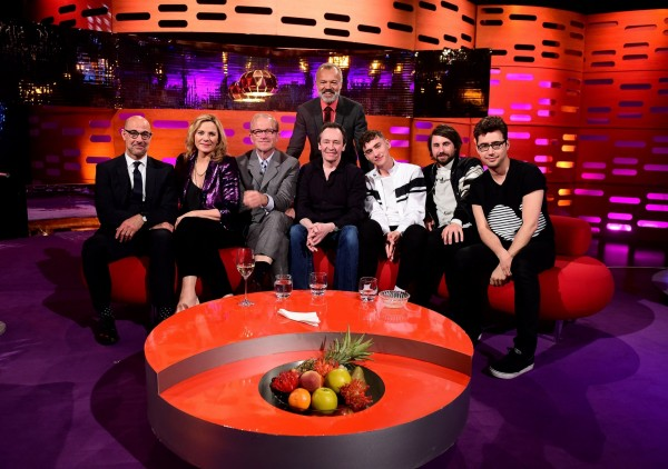 Stanley Tucci, Kim Cattrall, Harry Enfield, Paul Whitehouse and Years & Years on Graham Norton's sofa (Ian West/PA)
