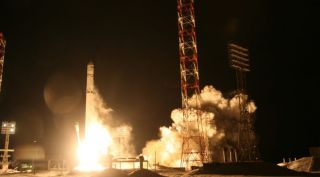 A Ukranian-built Zenit rocket launches Angosat-1, the South African country Angola's first satellite, into orbit from Baikonur Cosmodrome in Kazakhstan on Dec. 26, 2017.
