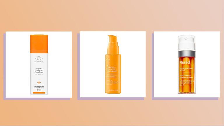 images of three of w&h best vitamin c serums picks on an orange background