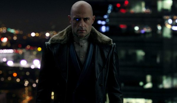 Shazam! Mark Strong standing on a rooftop as Dr. Sivana