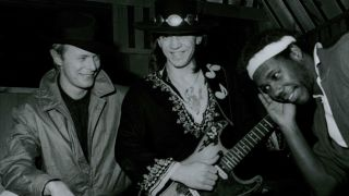 David Bowie, Stevie Ray Vaughan, Nile Rodgers recording Let's Dance.