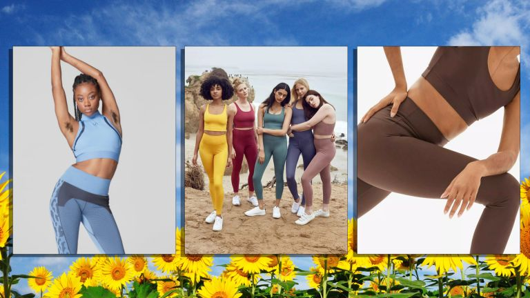 Best sustainable activewear from left to right, Stella McCartney for Adidas, Girlfriend Collective and Everlane