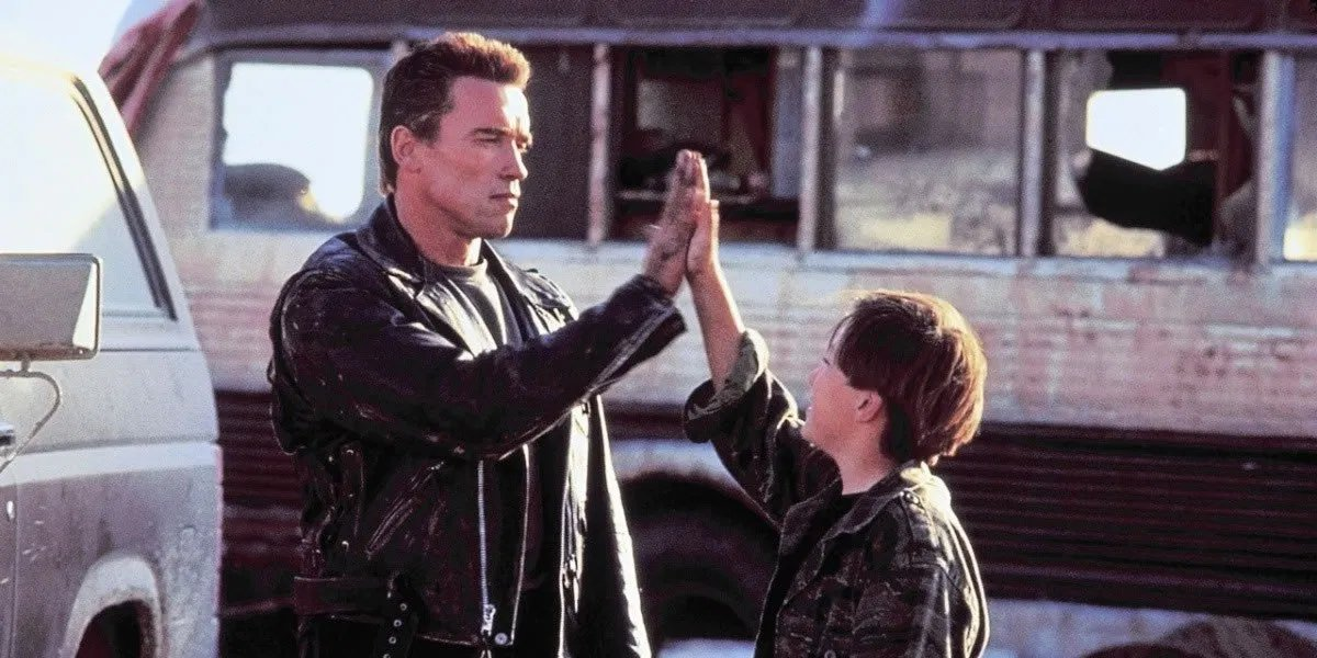 Arnold Schwarzenegger and Edward Furlong in Terminator 2: Judgment Day