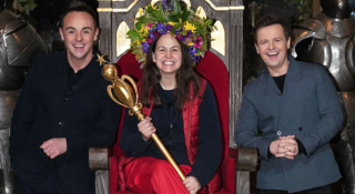 Ant and Dec pose with Giovanna Fletcher, the first celebrity to win in Wales.