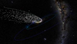 The meteoroid stream of Comet Thatcher.