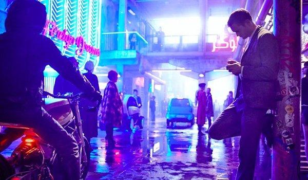 Mute Alexander Skarsgard standing around in the future