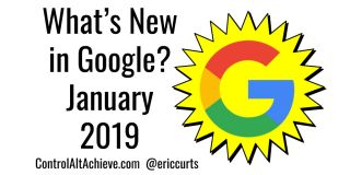 Whats New in Google? January 2019 with G in a yellow starburst
