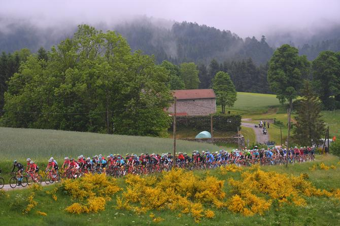 The pack rolls through the mist on stage 1 of the Critérium du Dauphiné
