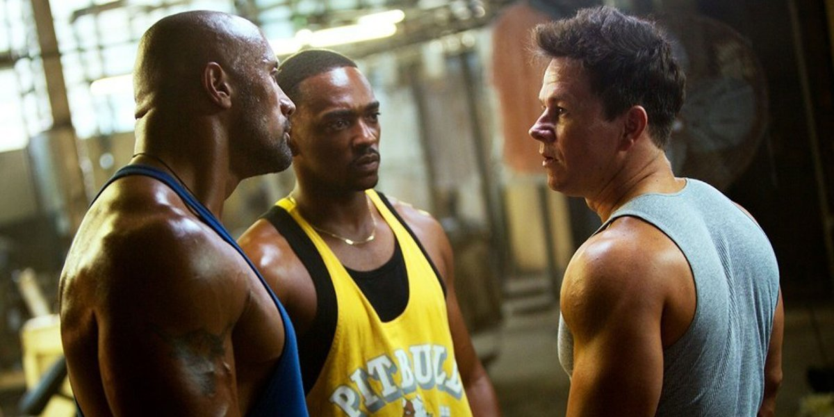 Dwayne Johnson, Anthony Mackie, and Mark Wahlberg in Pain & Gain