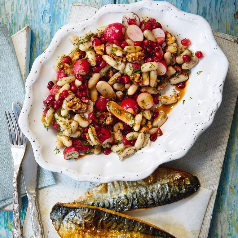 White Bean, Radish and Pomegranate Salad