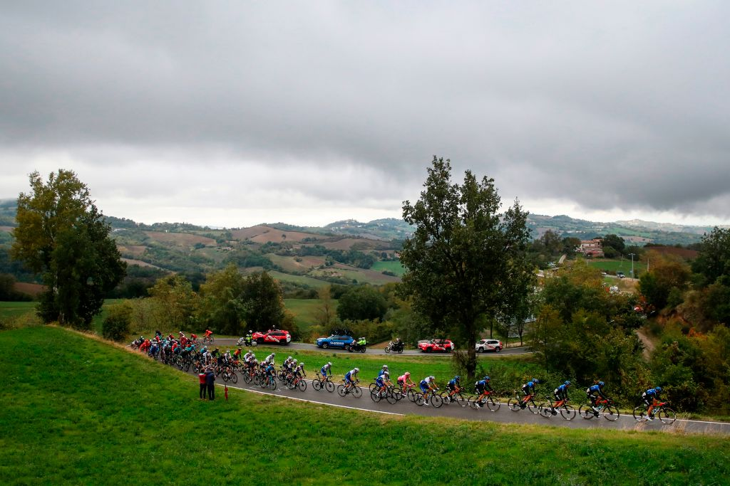 The pack rides on the Perticara hill during the 12th stage of the Giro dItalia 2020 cycling race a 204kilometers route between Cesenatico and Cesenatico on October 15 2020 Photo by Luca Bettini AFP Photo by LUCA BETTINIAFP via Getty Images