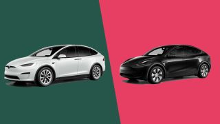 The Tesla Model X and Tesla Model Y on an angle, side-by-side, on a colored background