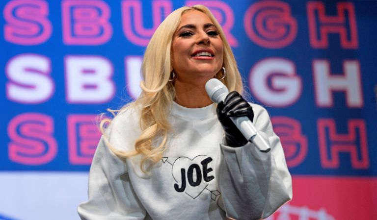 US singer Lady Gaga performs prior to Democratic presidential candidate Joe Biden speaking during a Drive-In Rally at Heinz Field