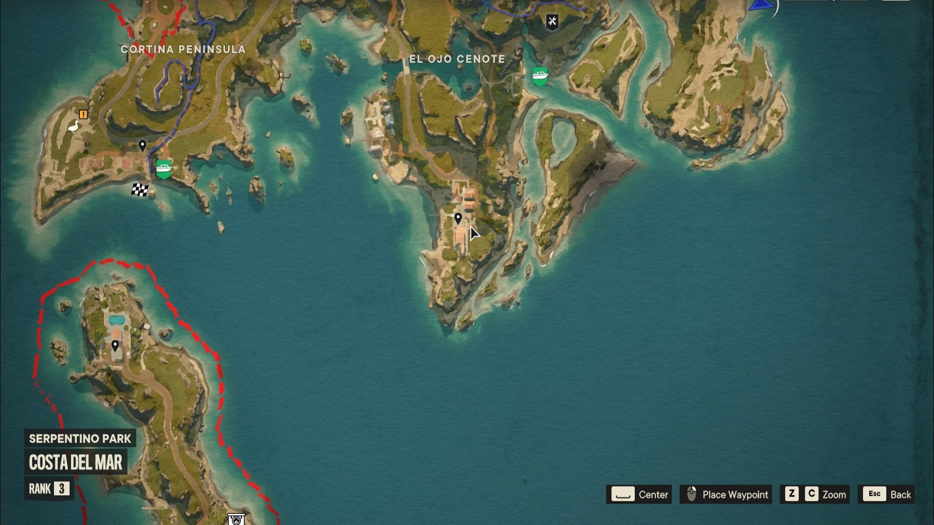A Far Cry 6 Criptograma chest location marked on a map of Madrugada