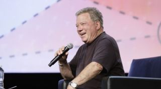 Actor William Shatner, best known for his role as Capt. James T. Kirk on Star Trek, speaks to attendees at the annual GEOINT Symposium, June 5, 2017.