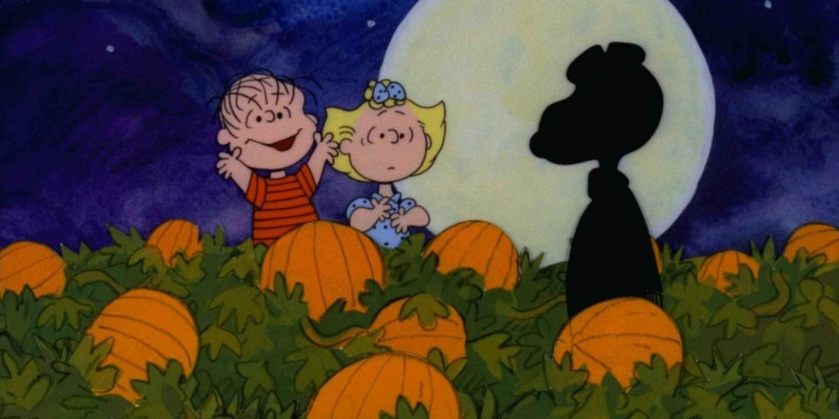 It's The Great Pumpkin, Charlie Brown Linus and Sally waiting in the pumpkin patch