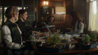 Natasha Romanoff and her family have dinner in Black Widow