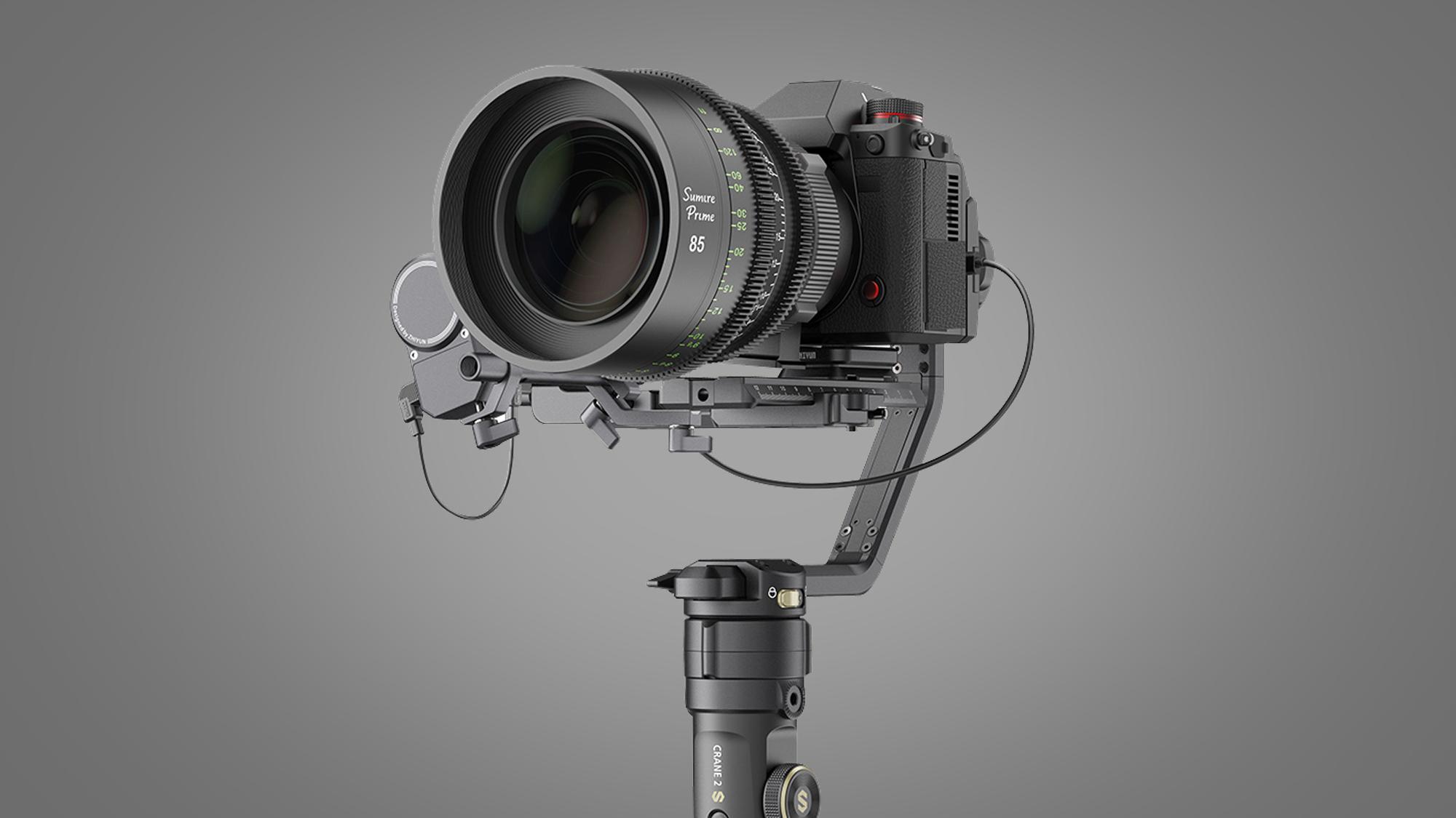 The Zhiyun Crane 2S gimbal holding a camera