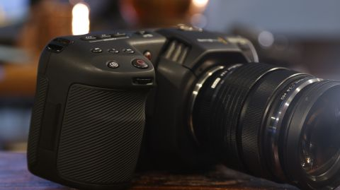 Close-up of the Blackmagic Pocket Cinema Camera 4K